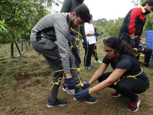 Daksha fellows taking part in adventurous activities at the recently held outbound trip